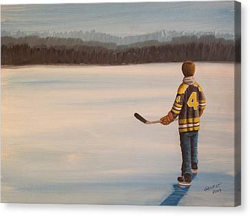Hockey Canvas Print - On Frozen Pond - Bobby by Ron  Genest