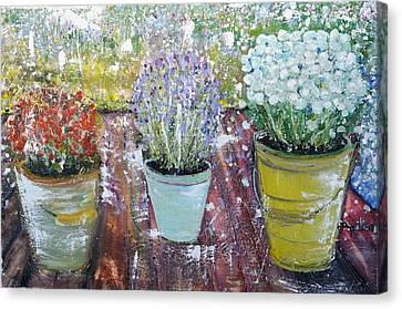 On Grandma's Porch Canvas Print by Evelina Popilian