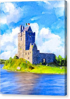 Canvas Print featuring the mixed media On Irish Shores - Dunguaire Castle by Mark Tisdale