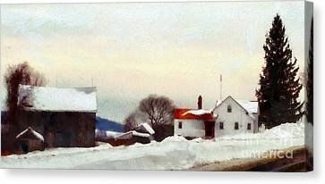 On My Way Home - Winter Farmhouse Canvas Print