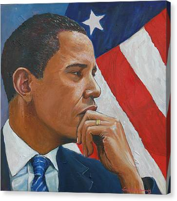 Barack Canvas Print - On Reflection by Tomas OMaoldomhnaigh