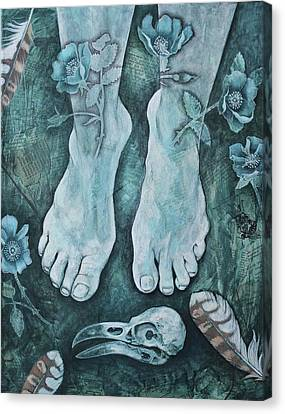 Canvas Print featuring the mixed media On Sacred Ground by Sheri Howe