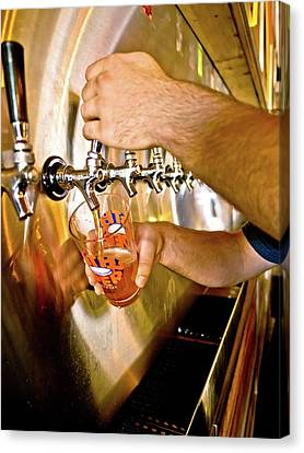 Canvas Print featuring the photograph On Tap by Linda Unger