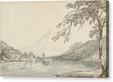 On The Aar Between Unterseen And Lake Of Brienz  Canvas Print by Joseph Mallord William Turner