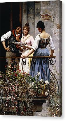 On The Balcony  Canvas Print by Eugen von Blaas