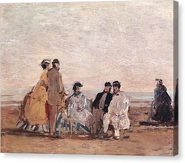 On The Beach At Trouville Canvas Print