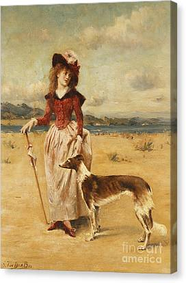 Walking The Dog Canvas Print - On The Beach by Georges van den Bos