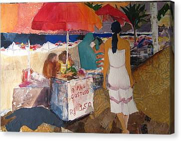 On The Beach In Rio Canvas Print by Carole Johnson