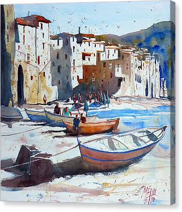 Sicily Canvas Print - On The Beach Of Cefalu by Andre MEHU