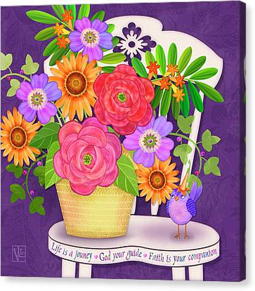 On The Bright Side - Flowers Of Faith Canvas Print by Valerie Drake Lesiak