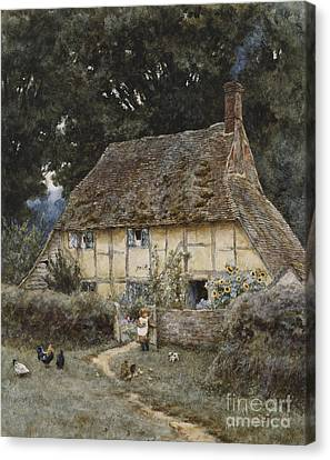 English Garden Canvas Print - On The Brook Road Near Witley by Helen Allingham