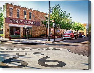 On The Corner In Winslow Arizona Canvas Print by Paul LeSage