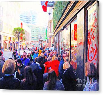 On The Day Before Christmas . Stockton Street San Francisco . Photo Artwork Canvas Print by Wingsdomain Art and Photography