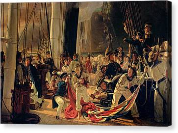On The Deck During A Sea Battle Canvas Print by Francois Auguste Biard