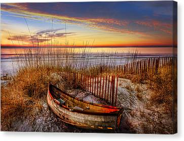 On The Dunes Canvas Print by Debra and Dave Vanderlaan