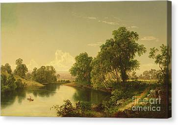 Cow Canvas Print - On The Esopus Creek, Ulster County, Ny by David Johnson