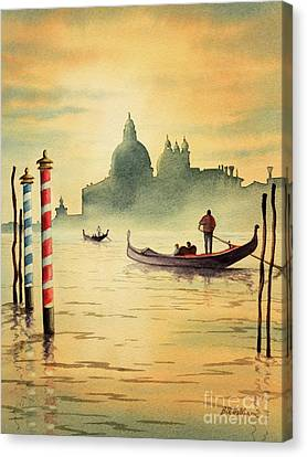 Gondola Ride Canvas Print - On The Grand Canal Venice Italy by Bill Holkham