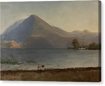 On The Hudson Canvas Print by Albert Bierstadt