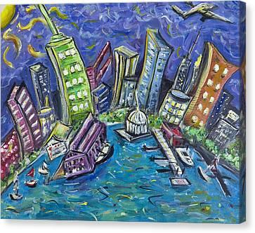 On The Hudson Canvas Print by Jason Gluskin