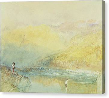 On The Mosell, Near Traben Trarabach Canvas Print by Joseph Mallord William Turner