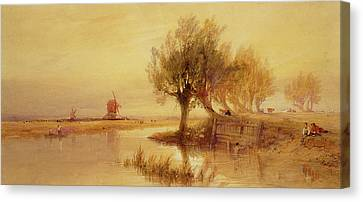 On The Norfolk Broads Canvas Print by Edward Duncan