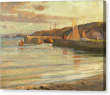 On The North Devon Coast Canvas Print by Frank Dicksee