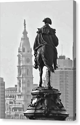 On The Parkway In Black And White Canvas Print