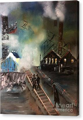 Canvas Print featuring the painting On The Pennsylvania Tracks by Denise Tomasura