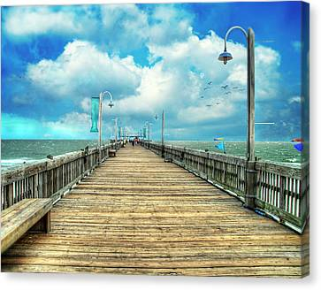 On The Pier At Tybee Canvas Print by Tammy Wetzel