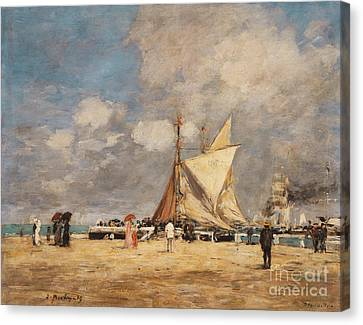 Water Vessels Canvas Print - On The Pier, Deauville, 1889  by Eugene Louis Boudin
