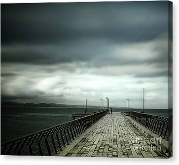 Canvas Print featuring the photograph On The Pier by Perry Webster