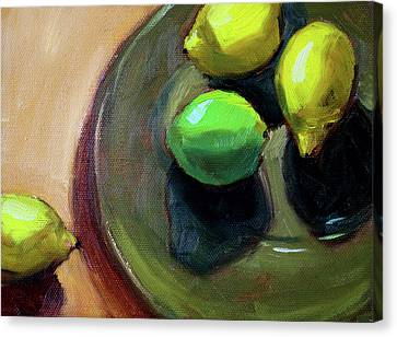 Canvas Print featuring the painting On The Plate by Nancy Merkle
