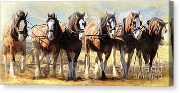 Canvas Print featuring the digital art  On The Plough by Trudi Simmonds