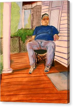On The Porch With Uncle Pervy Canvas Print by Jean Haynes