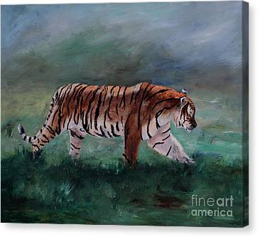 Canvas Print featuring the painting On The Prowl by Brenda Thour