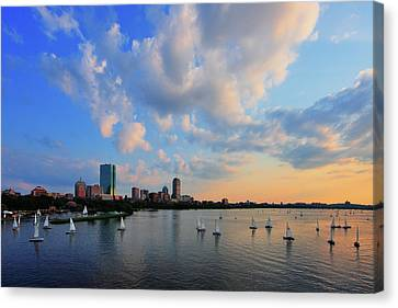 Hancock Building Canvas Print - On The River by Rick Berk