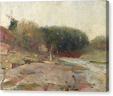 On The River Yarra, Near Heidelberg, Victoria  Canvas Print by Charles Conder
