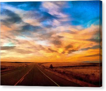 Colorful Sky Canvas Print - On The Road Again by Ernie Echols