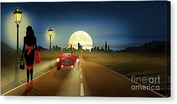 On The Road In The Night Canvas Print