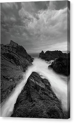 On The Rocks - B/w Canvas Print by Michael Blanchette