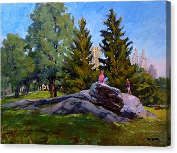 On The Rocks In Central Park Canvas Print by Peter Salwen