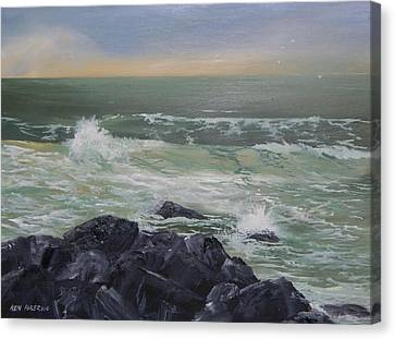 Canvas Print featuring the painting On The Rocks by Ken Ahlering