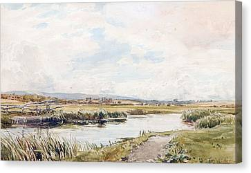 Collier Canvas Print - On The Rother River by Thomas Collier