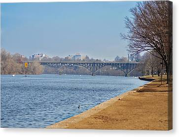 On The Schuylkill River - Strawberry Mansion Bridge Canvas Print by Bill Cannon