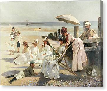 Toy Boat Canvas Print - On The Shores Of Bognor Regis by Alexander M Rossi
