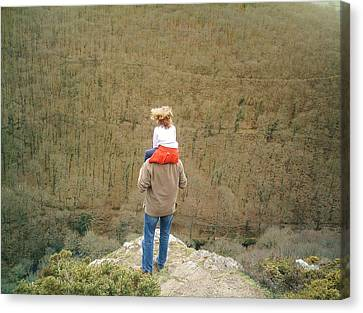 Admiring The View Canvas Print - On The Shoulders Of Giants by Richard Brookes