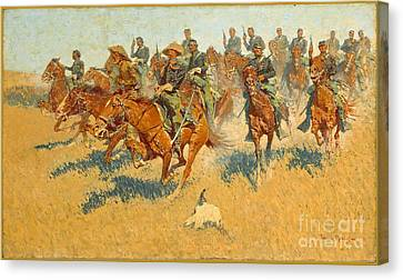 Canvas Print featuring the photograph On The Southern Plains Frederic Remington by John Stephens