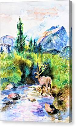 Mountain View Canvas Print - On The Stream by Khalid Saeed