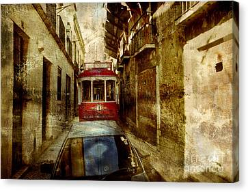 Canvas Print featuring the photograph On The Streets Of Lisbon by Dariusz Gudowicz