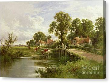 River Canvas Print - On The Thames Near Marlow by Henry Parker